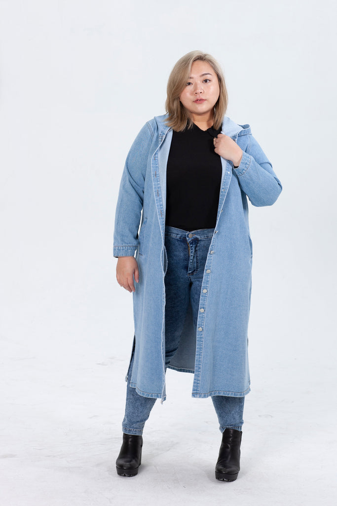 Longline Denim Jacket In Midwash blue