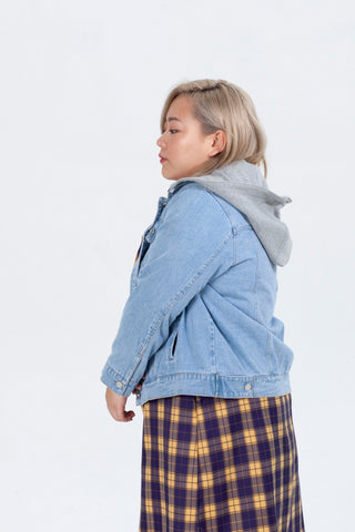 Denim Jacket With Jersey Hood In Midwash