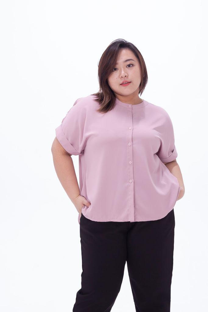Light Purple Button Front Blouse