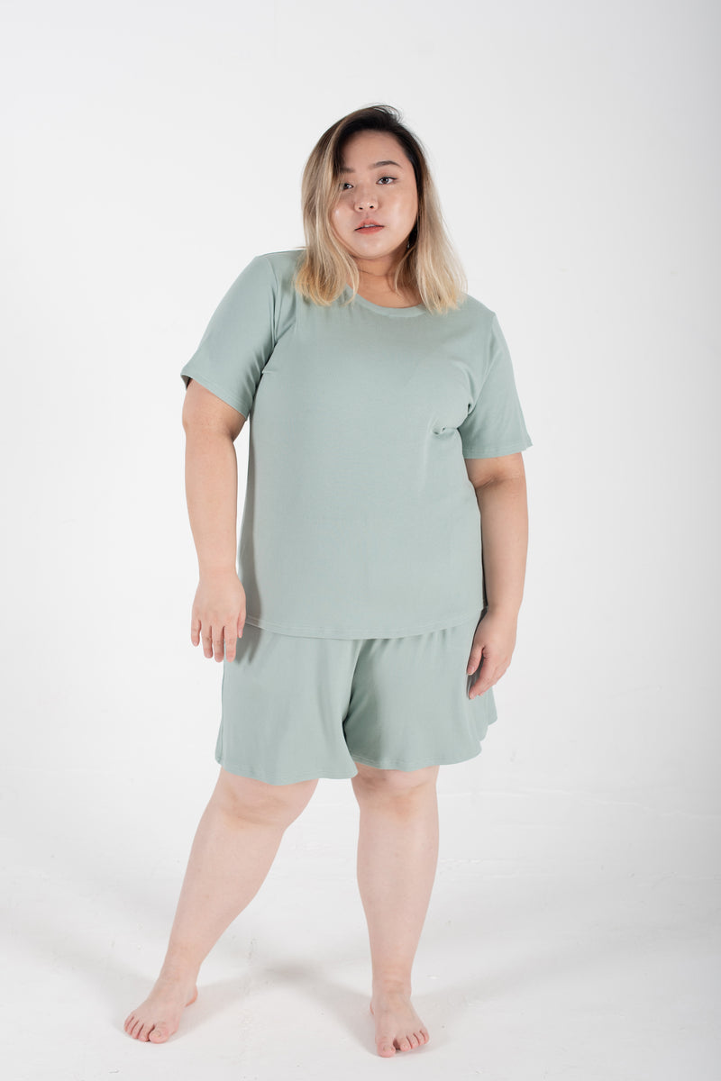 Ribbed Round Neck T-Shirt In Mint
