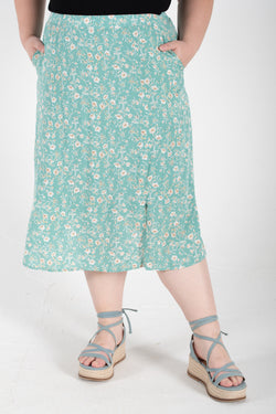 Floral Midi Skirt In Mint
