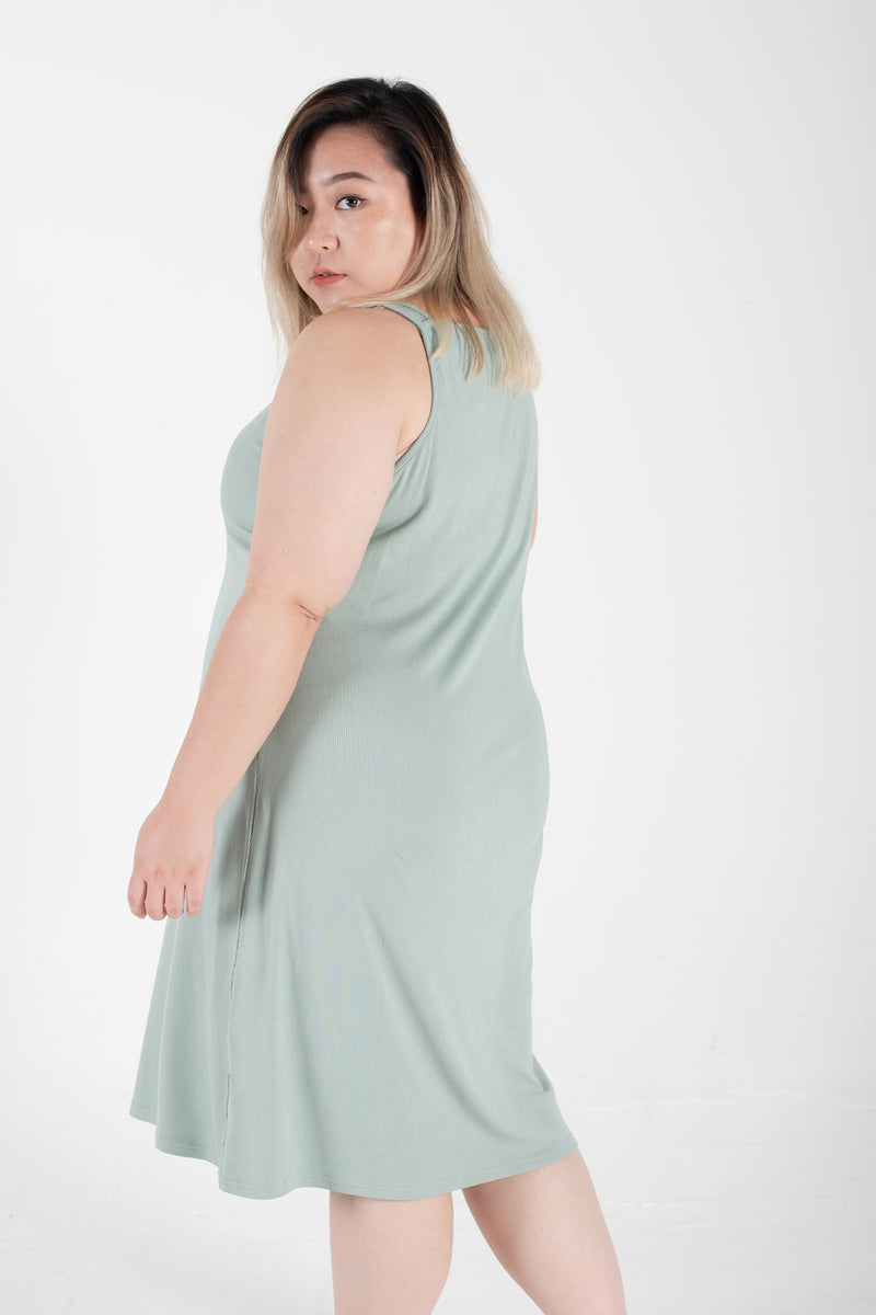 Ribbed Vest Dress In Mint