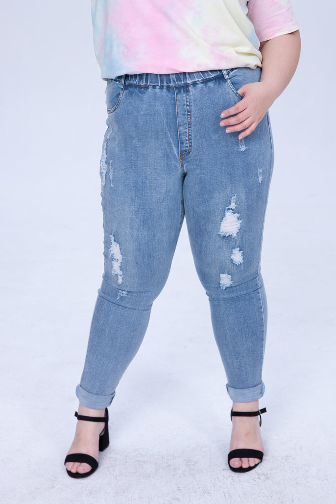 Super Skinny Mid-Wash Jeans In Ripped details