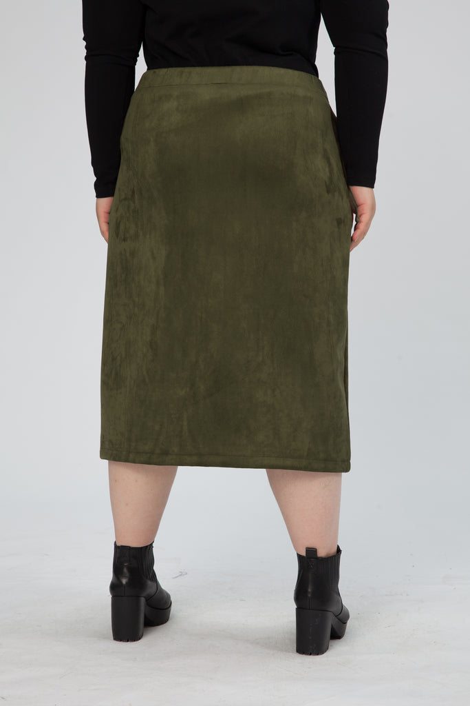 Zip Front Midi Pencil Skirt In Olive