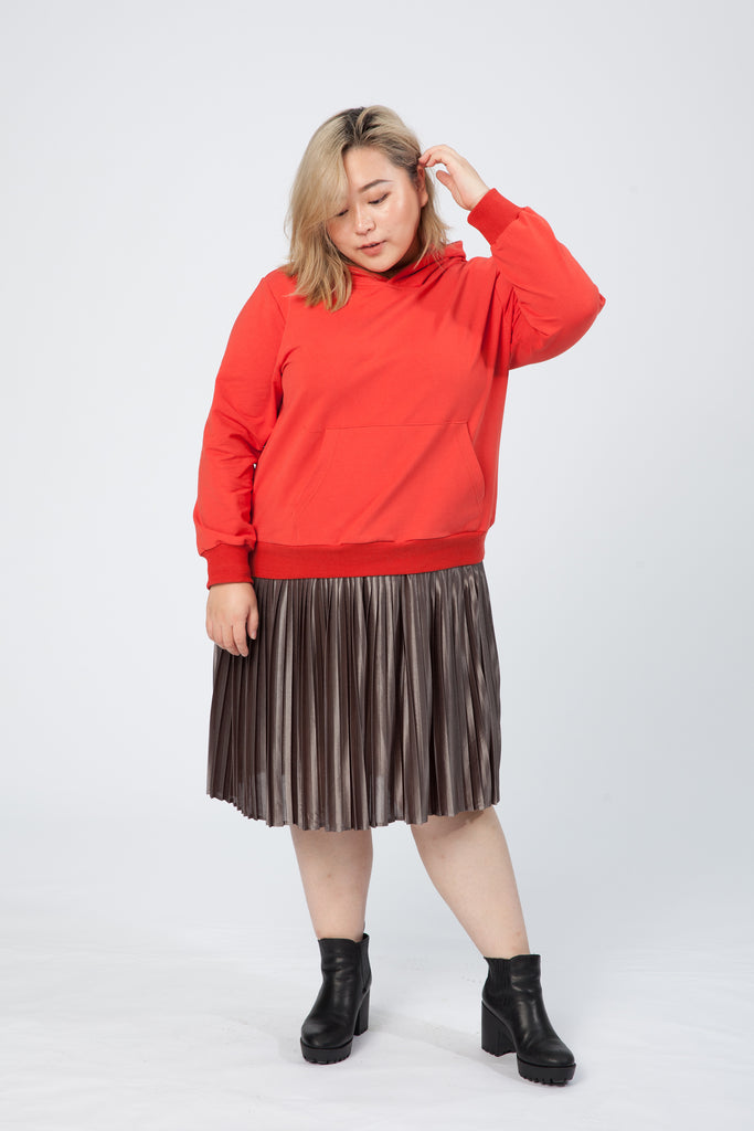 Hoodie With Pleated Dress In Orange