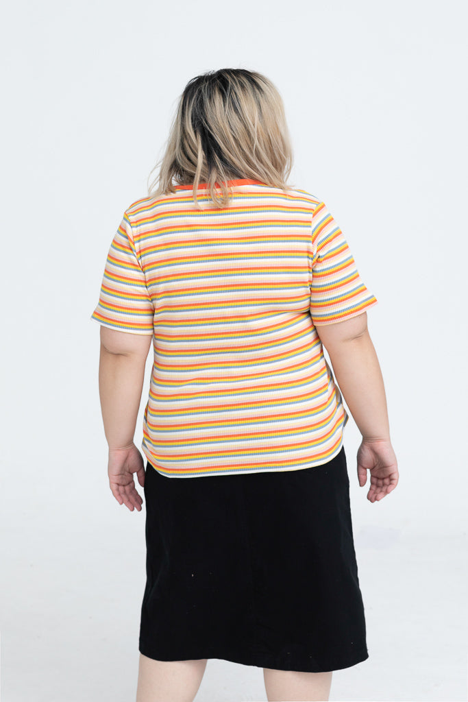 V-neck Button Front With Orange Striped Print