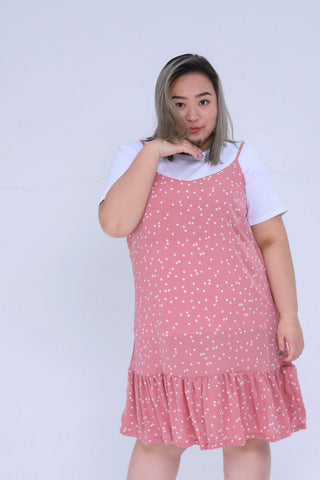 Dot Print Cami Dress In Pink With Ruffle Hem