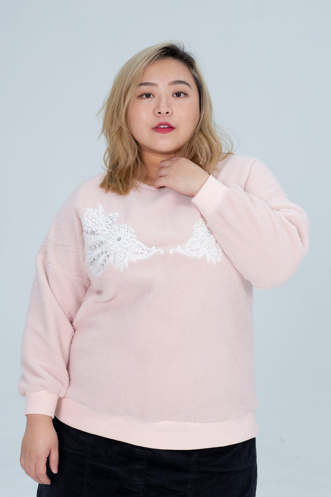 Borg Sweater In Pink With Wings Print