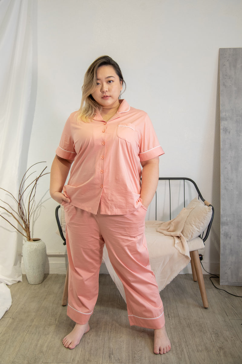 Cotton Pyjamas In Pink (Shirt+Long Trouser Set)