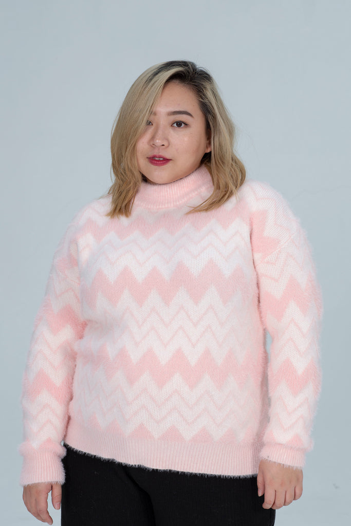 Print Knit In Pink