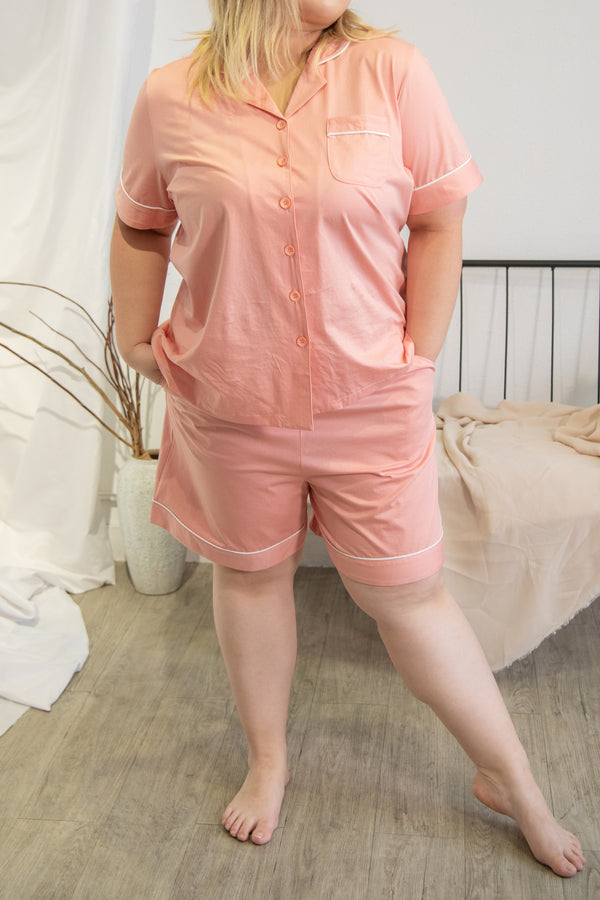 Cotton Pyjamas In Pink (Shirt+Short Trouser Set)