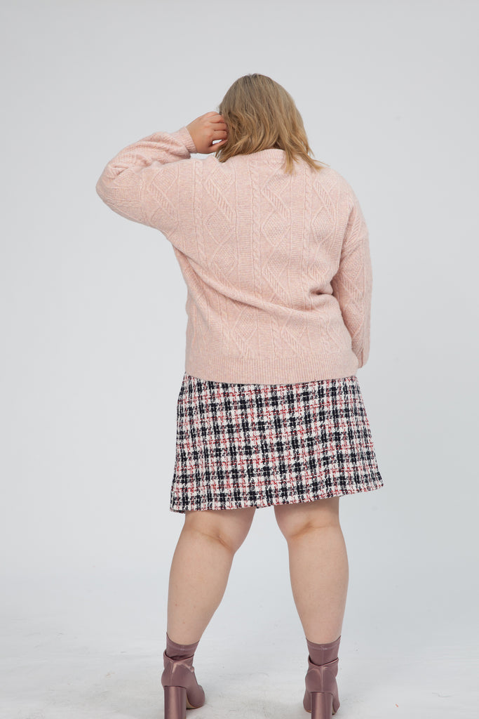 Cable Knit Jumper In Pink
