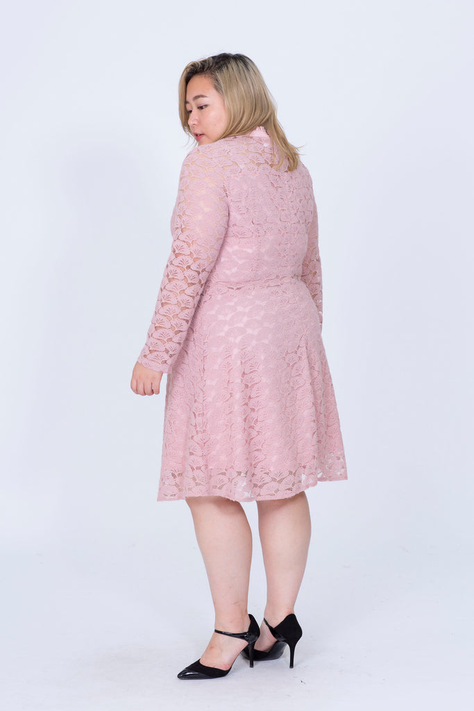 Long Sleeves Lace Dress In Dusty Pink