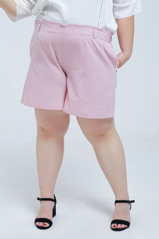 Short In Pink With Shirred Waist