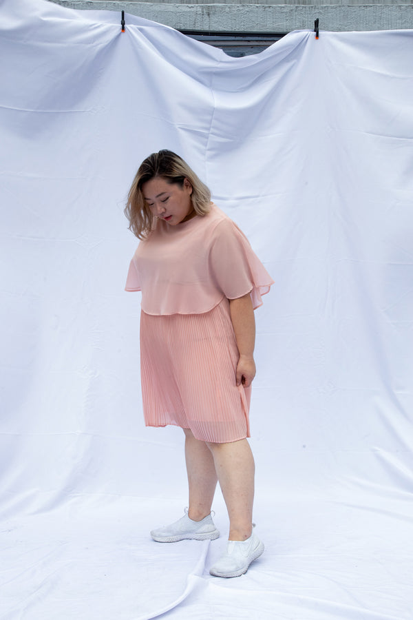 Double Layer Pleated Dress In Pink