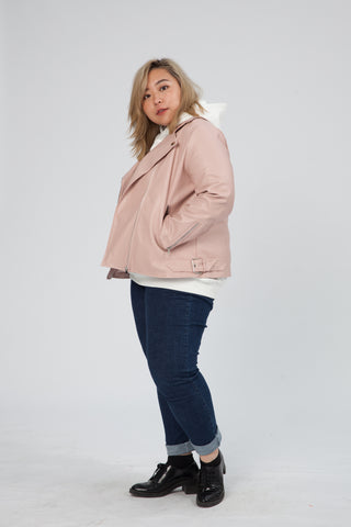 PU Biker Jacket In Pink