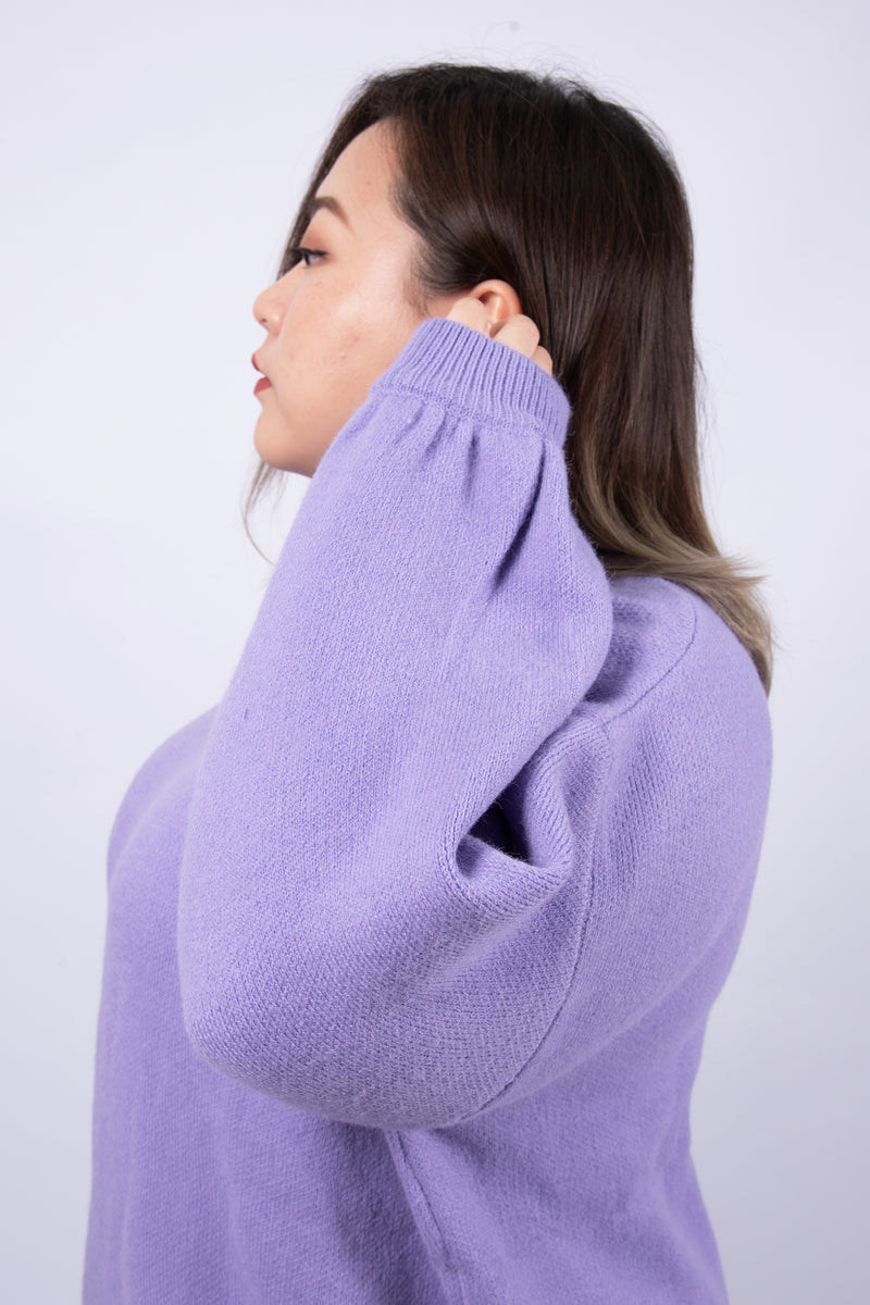 Balloon Sleeves Jumper In Purple
