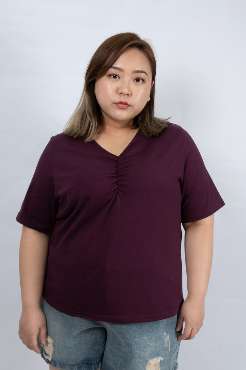 V-Neck Twist Front Top In Purple