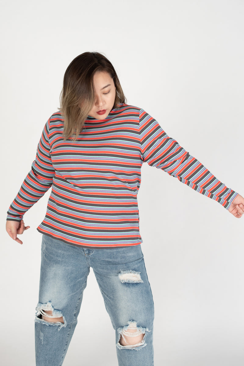 Ribbed Rainbow Striped Top In Red