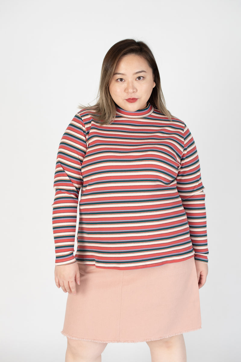 Ribbed Rainbow Striped Top In Pink