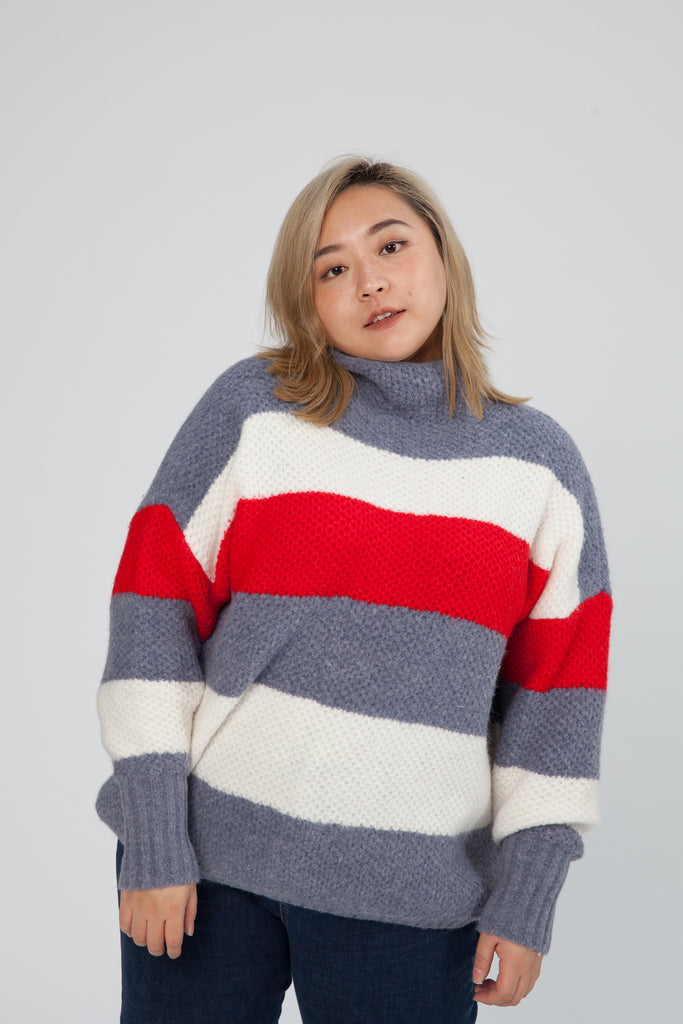 Colour Jumper In Blue and Red Stripe
