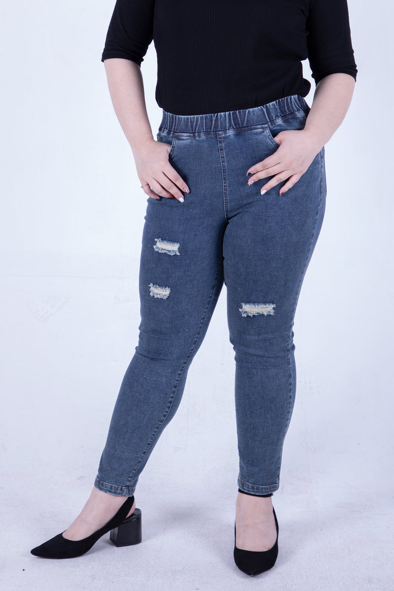 #allbodies Super Stretch Ripped Jeans In Washed Blue