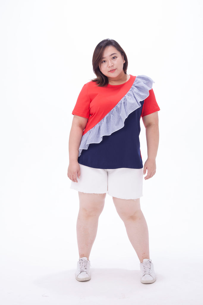 T-Shirt With Stripe Ruffle Details In Colour Block