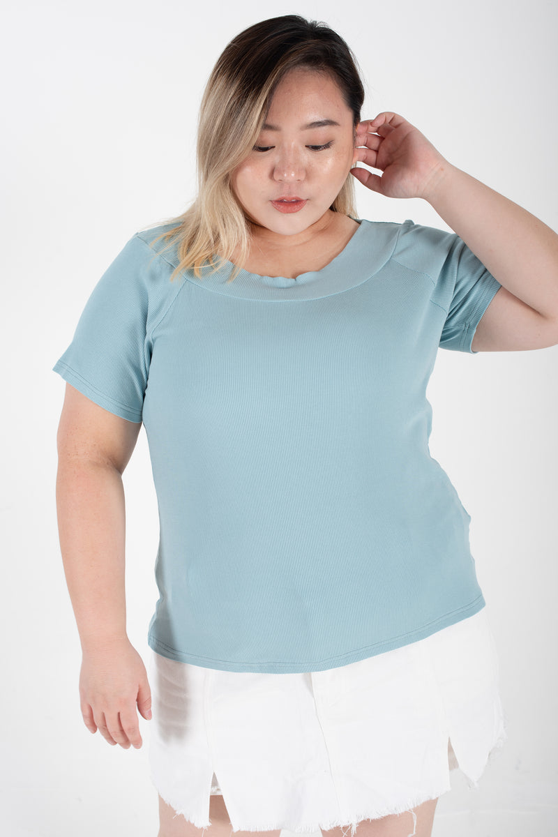 Ribbed Boat Neck Top In Blue