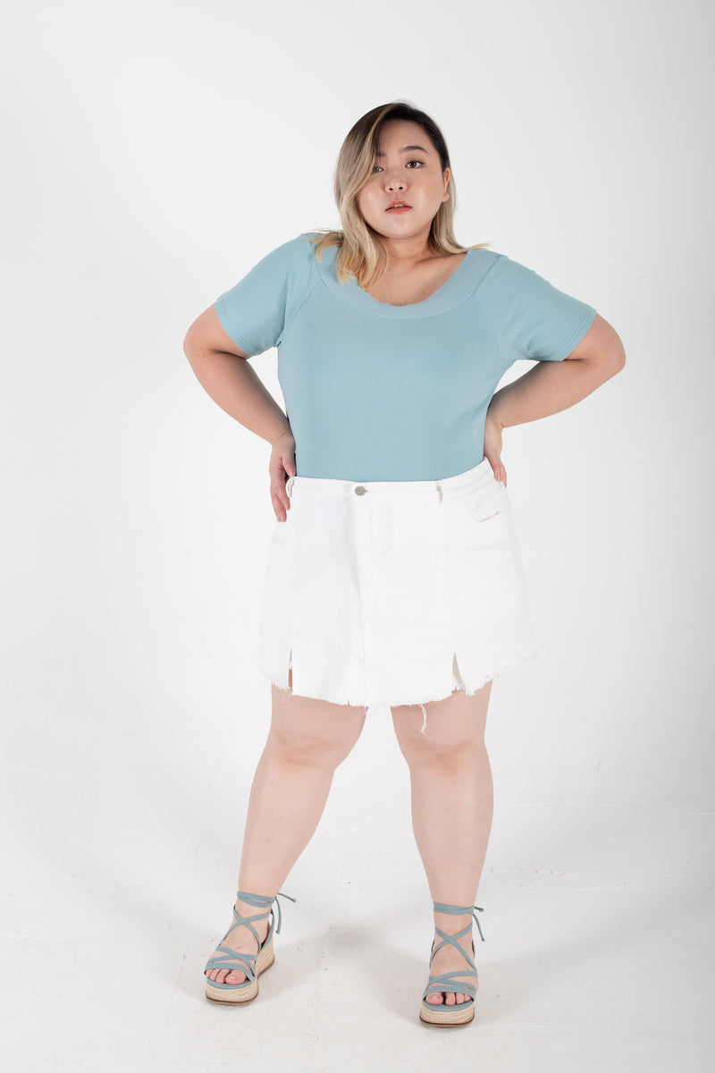 Denim Culotte Skirt In White