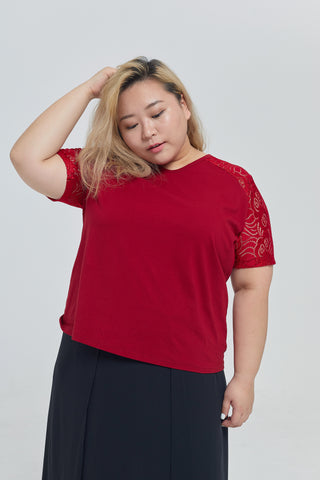 Lace Sleeves Top In Red