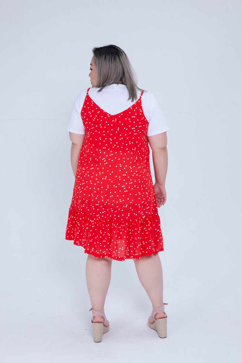 Dot Print Cami Dress In Red With Ruffle Hem