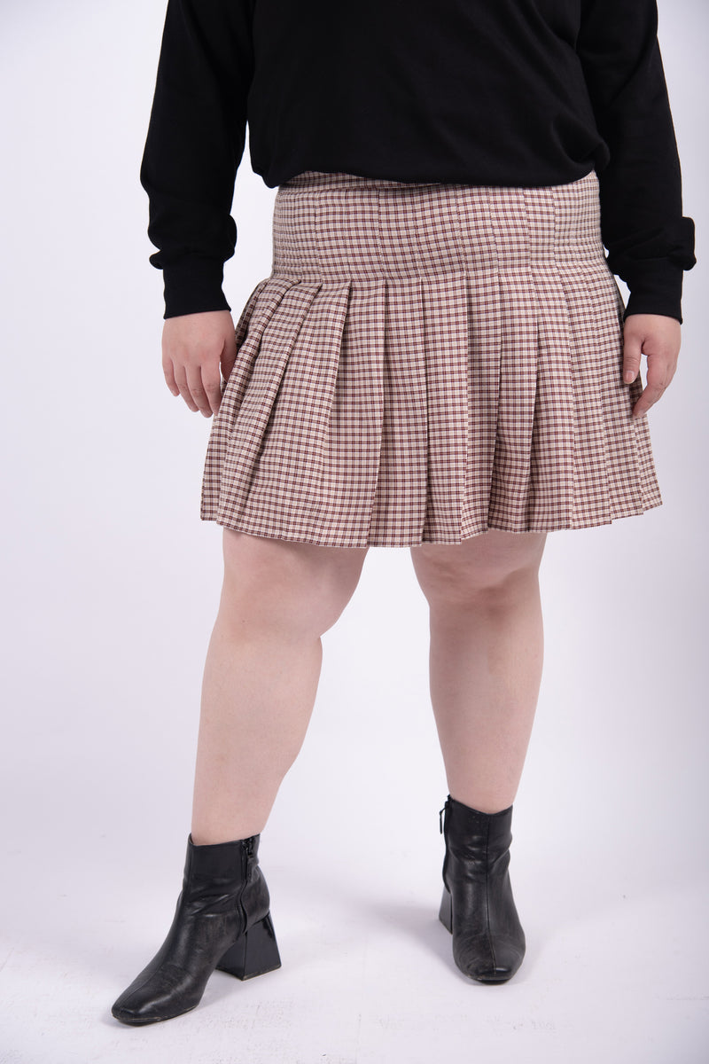 Pleated Mini Skirt In Red Check
