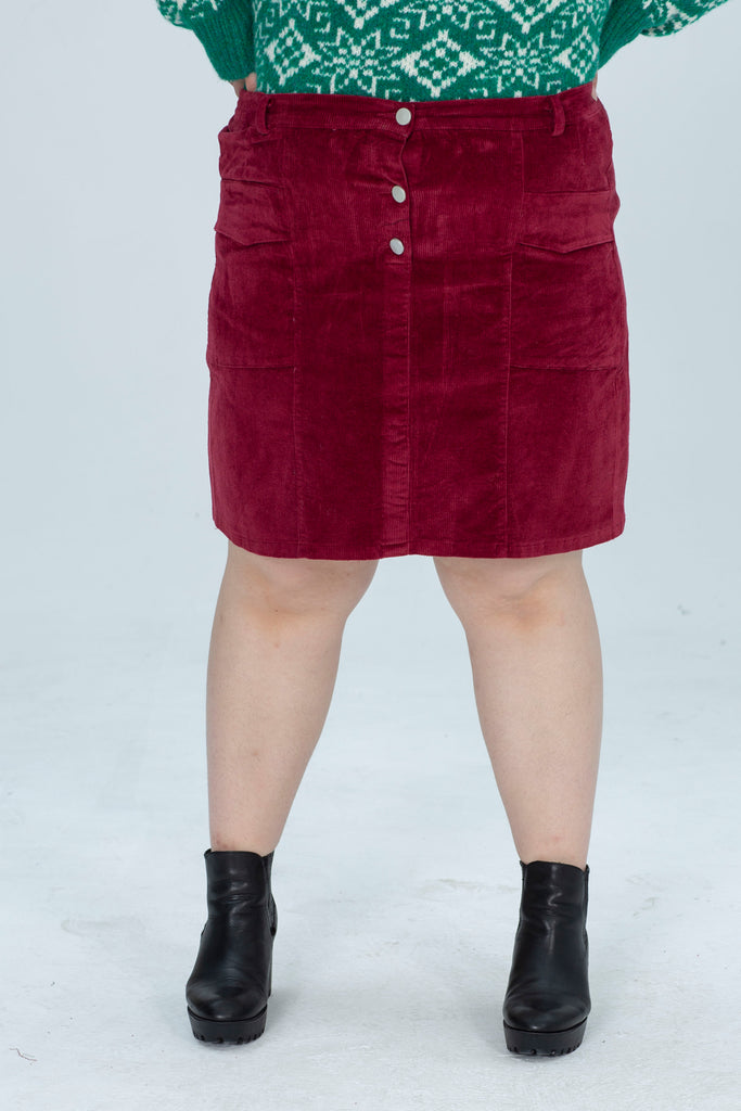 Cord Button Skirt In Red