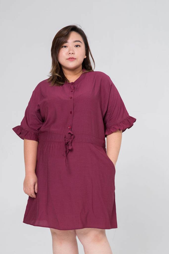 Ruffle Sleeves Dress In Wine Red