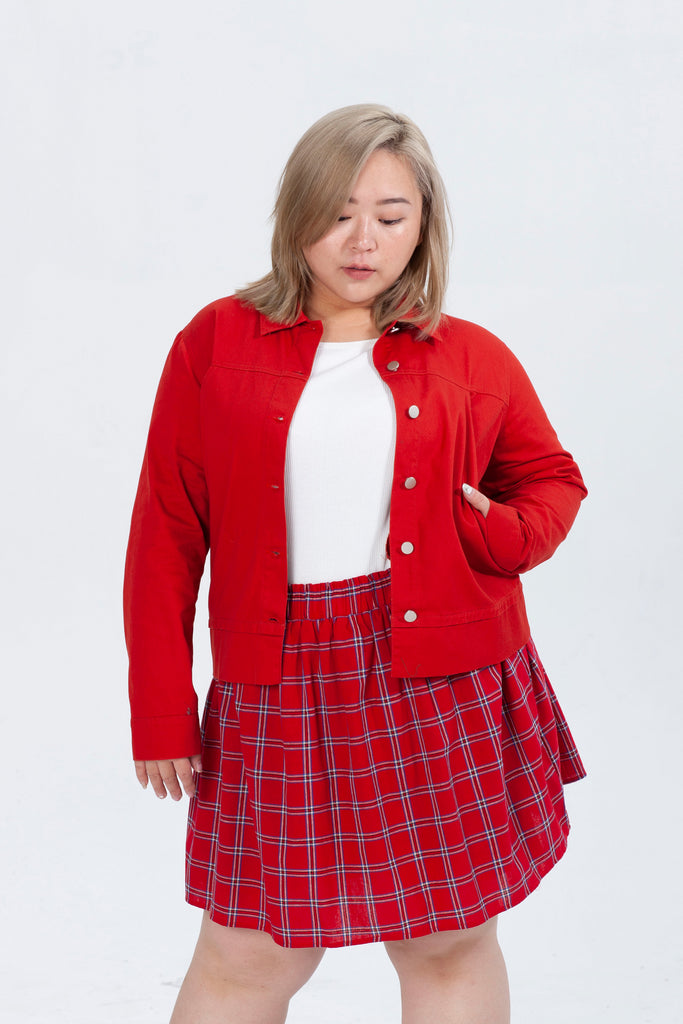 Side Pockets Jacket In Red