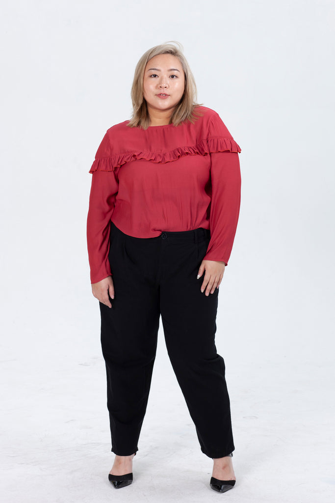 Red Blouses With Ruffle Detail