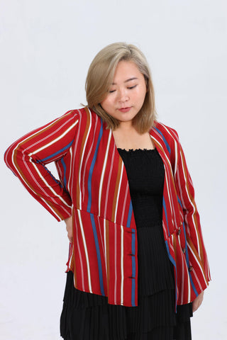 Button Detail Wrap Top In Red Stripe Print