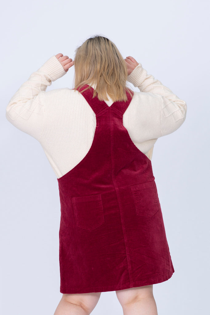 Cord Dungaree Dress In Wine Red