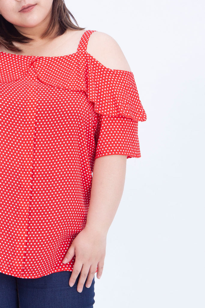 Ruffle Front Cami Top In Red Polka Dot