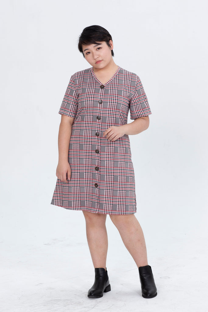 Button front Check V-neck Dress In Red
