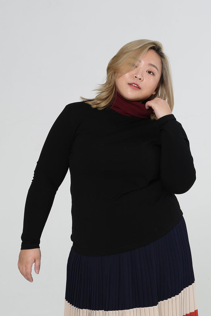 Colour Block Turtle Neck In Red