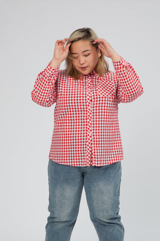 Checked Shirt With Long Sleeves In Red