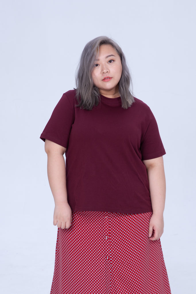Basic T-Shirt In Wine Red