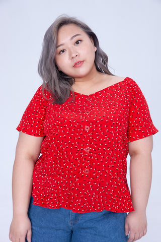 Square Neck In Red Floral Print