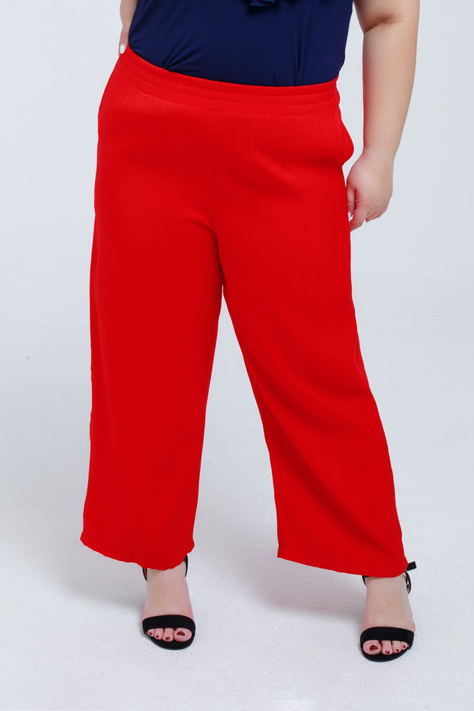 Wide Leg Trousers In Red