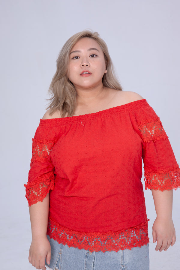 Lace Off Shoulder Top In Red