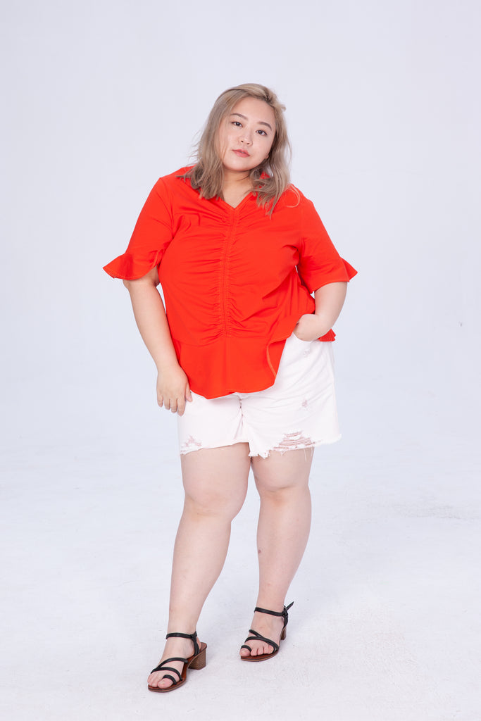 Shirred Front Top In Red