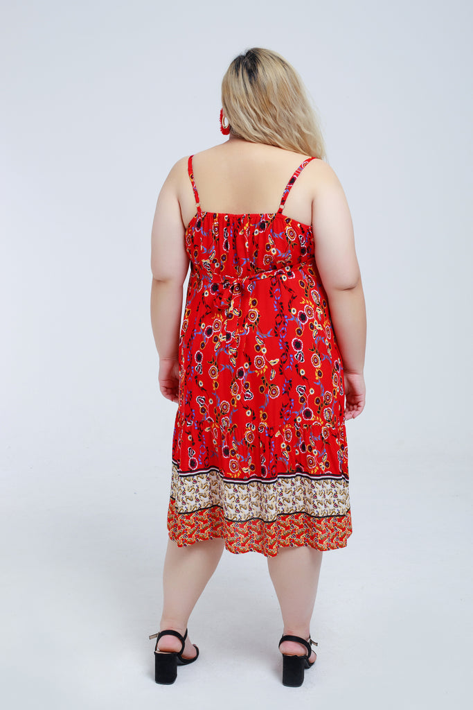 Floral Cami Dress In Red