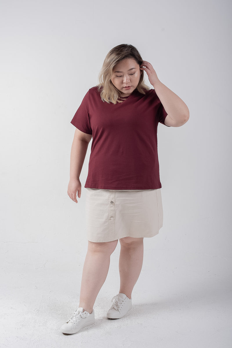 Strap Front T-shirt In Wine Red