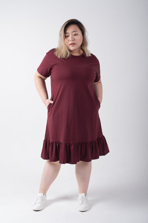 Dress In Wine Red With Ruffle Hem Details
